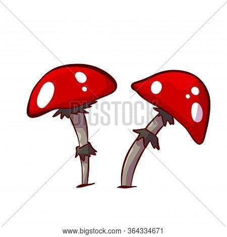 Colorful Vector Illustration Of Cartoon Red Mushrooms With White Spots