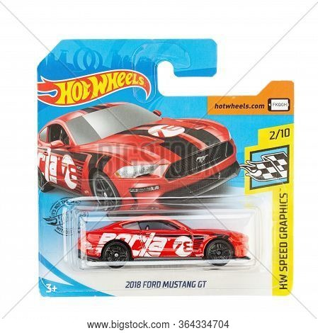 Ukraine, Kyiv - March 14, 2020:toy Car Model Ford Mustang Gt. Hot Wheels Is A Scale Die-cast Toy Car