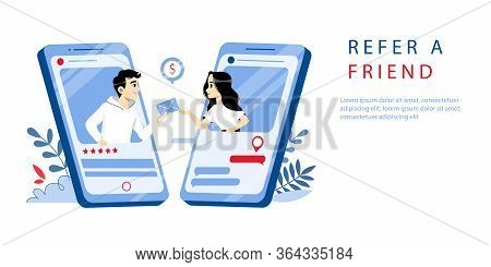 Referal Marketing, Refer A Friend Concept. Website Landing Page. Man Refers With Friend By Mobile Ap