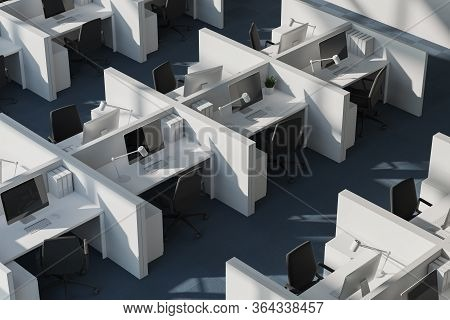 Top View Of White Cubicles In Modern Office With White Walls And Carpeted Floor. Consulting Company