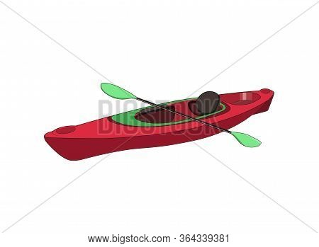 Sport Racing Kayak Or Canoe With Paddels. Vector Isolated Graphic Illustration