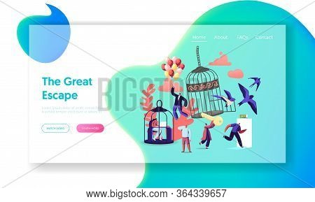 Characters Escape Home Isolation, Freedom Landing Page Template. People Leaving Cages And Run Into O