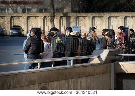 Baku, Azerbaijan - April 14, 2020 - Downtown Baku, Azerbaijan. Empty Streets Of Baku, The Capital Of