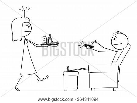 Vector Cartoon Stick Figure Drawing Conceptual Illustration Of Man Or Husband Sitting In Chair Contr