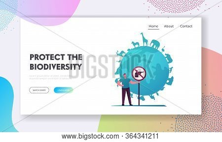 Biodiversity And Multiplicity, Save Planet Landing Page Template. Eco Activist Male Character Holdin