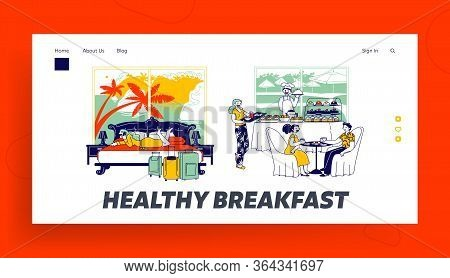 Hospitality And Room Service Landing Page Template. Characters Have Breakfast Sit At Table, Girl Cal