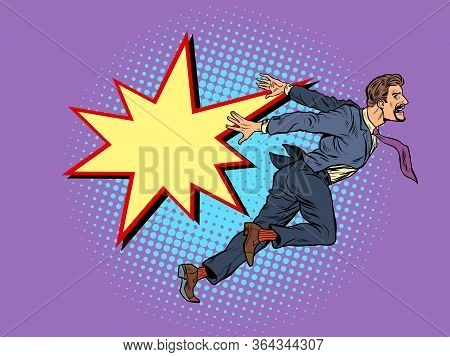 Businessman Falls, The Concept Of Problems And Bankruptcy. Pop Art Retro Vector Illustration Kitsch