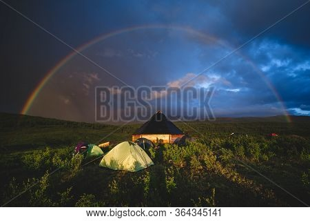 Ail The Traditional Altai House And Tourist Tents Around Under The Rainbow Dome In The Ongudaysky Di