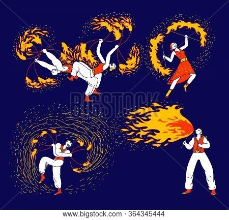 Set Of Men And Women Characters Dancing And Juggling With Fire On Stage Performing Talent Show Progr