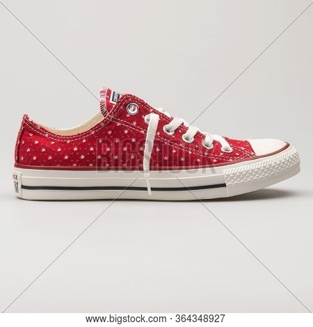 Vienna, Austria - February 19, 2018: Converse Chuck Taylor All Star Ox Red And White Sneaker On Whit