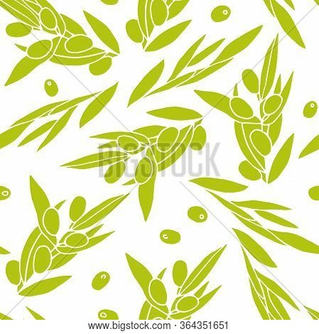 Seamless Pattern Olives. Green Outline Olive Branches Isolated On White Background. Randomly Arrange