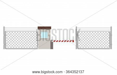 Metal Fence With A Barrier And A Checkpoint. Flat Vector Illustration