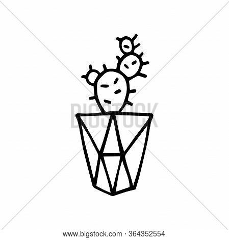 Doodle Cactus In A Faceted Pot. Scratchy Hand-drawn Succulent With Poly Flower Pot. Black Outline Of