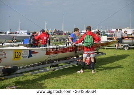 Dieppe, France - May 25, 2019: French Rowing Championship. Water Rowing Boats And Teams