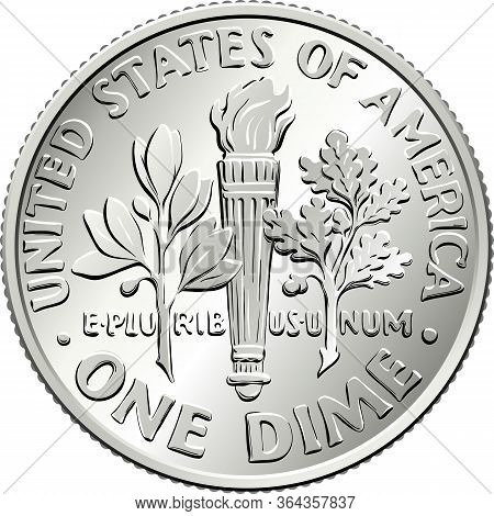American Money Roosevelt Dime, United States One Dime Or 10-cent Silver Coin, Olive Branch, Torch, O