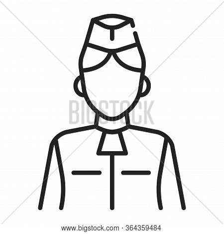 Stewardess Black Line Icon. Member Of An Aircrew Employed By Airlines Aboard Commercial Flights. Pic
