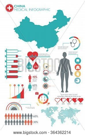 China Medical Healthcare Infographic Template With Map And Multiple Charts