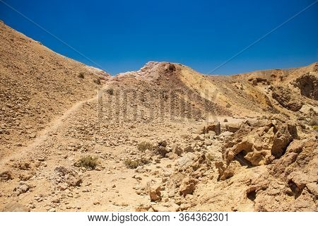 Desert Waste And Dry Ground Hills Rocky Sand Stone Global Warming Environment In The Middle Of Nothi