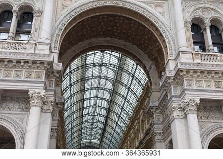Ceiling Of Vittorio Emanuele Ii Gallery: Shopping Mall In Milan In The Form Of A Pedestrian Covered