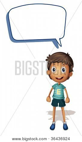 illustration of a boy and call out on a white background