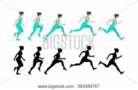 Woman Run Cycle Animation Sprite Sheet. Flat Style. Isolated On White Background