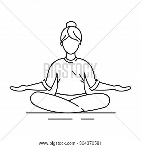 Padmasana Lotus Position Black Line Icon. Cross-legged Sitting Asana, In Which Each Foot Is Placed O