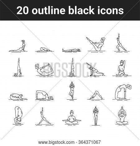 Yoga Black Line Icons Set. Different Yoga Poses And Asanas. Pictogram For Web Page, Mobile App, Prom