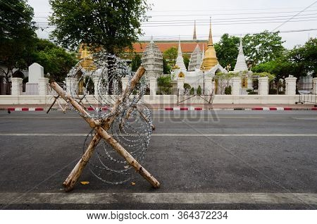 Barricades And Barbed Wire In Front Of The Royal Palace, During The 2014 Protests.