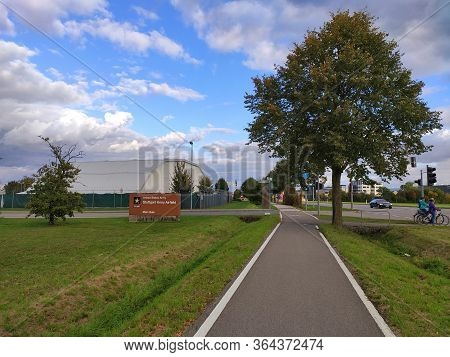 Filderstadt, Germany - October 03, 2019: United States Army - Stuttgart Army Airfield - Main Gate