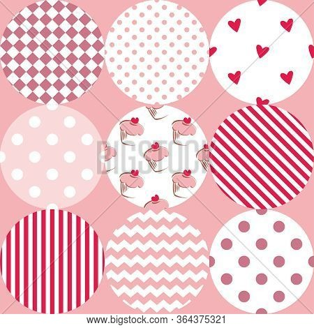 Tile Patchwork Vector Pattern With Polka Dots, Cupcakes And Zig Zag Stripes On Pastel Pink Backgroun