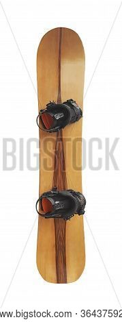 Snowboard With Bindings Isolated On White Background