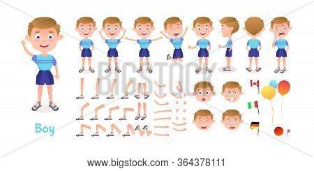 Boy Character Constructor. Cartoon Boy Creation Mascot Kit. Character Creation Set Poses And Emotion