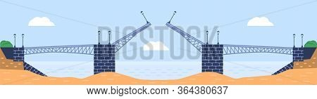 Bridge Vector Illustration. City Architecture Element With Cables, Freeway And Bridge-construction A