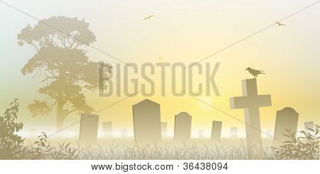 A Misty Graveyard, Cemetery with Tombstones and Tree