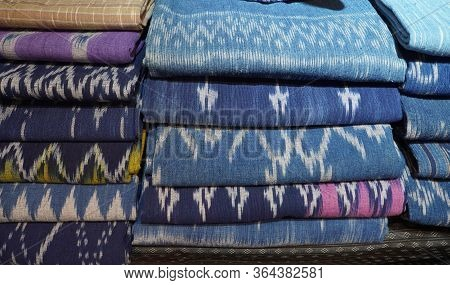 Stacks Of Cloths, Collection Of Blue Indigo Fabrics Thai Pattern