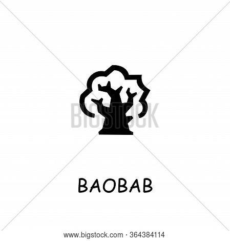 Baobab Flat Vector Icon. Hand Drawn Style Design Illustrations.