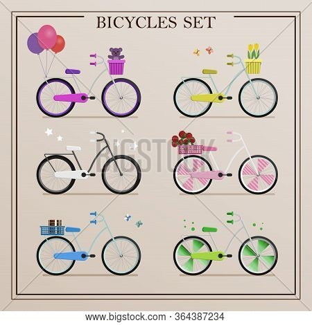 A Set Of Bicycles In Retro Style And In Different Colors. Vector Illustration Of Flat Bikes With A L