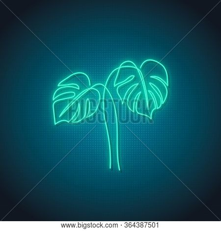 Neon Monstera Leaf Sign. Glowing Monstera Leaves Emblem On Dark Background. Stock Vector Illustratio