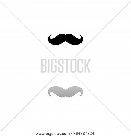 Whiskers. Black Symbol On White Background. Simple Illustration. Flat Vector Icon. Mirror Reflection