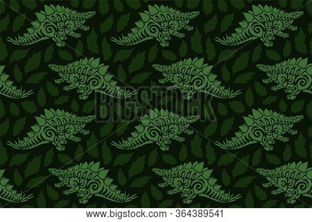 Beautiful Green Seamless Pattern With Tribal Stegosaurus Silhouettes And Leaves On The Dark Backgrou