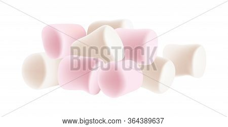 Marshmallow Set. Heap Of Tasty White And Pink Marshmallows Isolated On White Background. Marshmallow