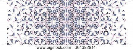 Islamic, Arabic Mosaic Vector Border, Pattern, Decor Geometric Pink And Violet Halftone Pattern With