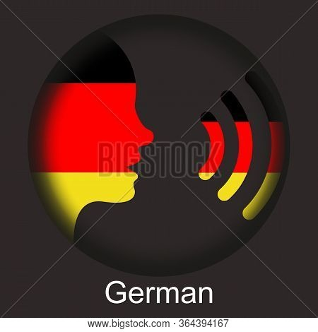 Speak German - Germany - Voice Icon - German Flag - Speech