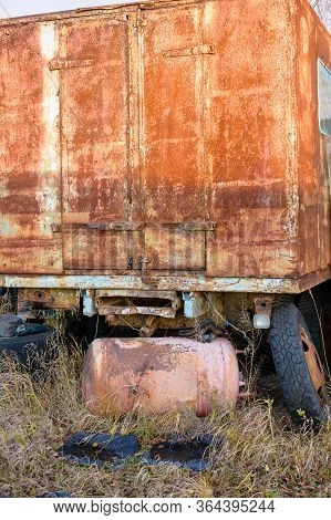Rusted Truck With Gas Cylinder. Rusty Texture. Old Rusty Car.