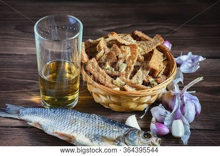 A Bouquet Of Fresh Beer And Snacks With Homemade, Salted, Rye Rusks With Garlic For Beer And Dried,