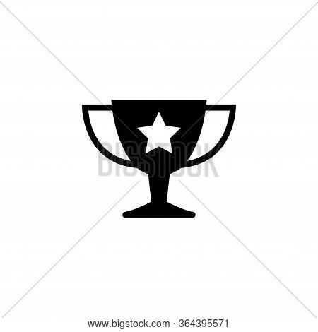 Champions Trophy Cup, Winner Award. Flat Vector Icon Illustration. Simple Black Symbol On White Back