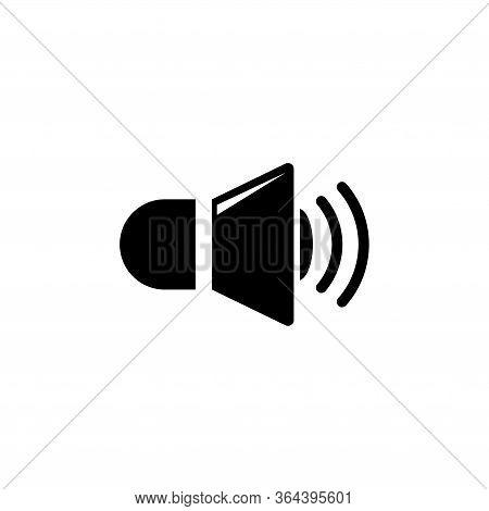 Speaker Volume, Music Sound Loudness. Flat Vector Icon Illustration. Simple Black Symbol On White Ba