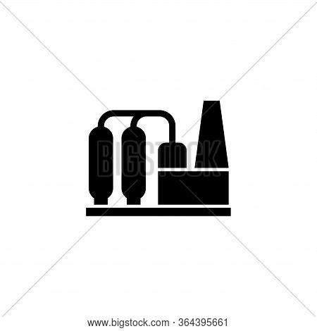Petrochemical Plant, Refinery Oil Distillation. Flat Vector Icon Illustration. Simple Black Symbol O