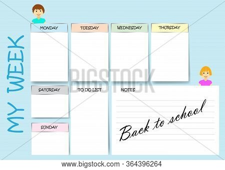 My Week Planner For School On Blue Background.  Week Starts Sunday.