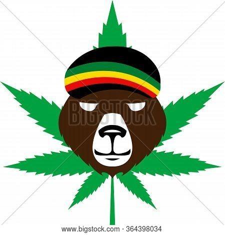 Cannabis Or Marijuana Green Leaf - Jamaican Rasta Hat - Reggae Style Avatar - Brown Bear Rastaman